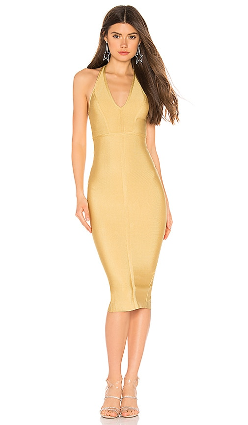 superdown Desi Halter Bodycon Dress in Gold | REVOLVE