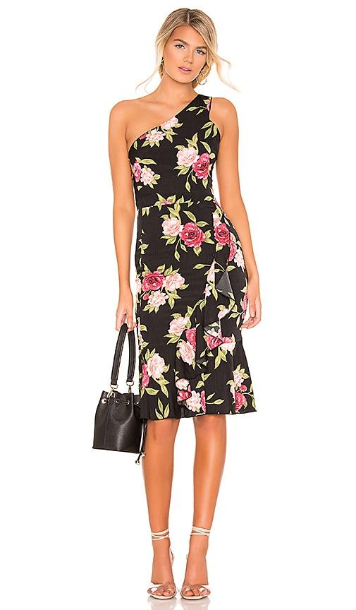 superdown Cynthia One Shoulder Dress in Black Floral | REVOLVE