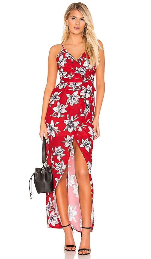 ac44c1a3274 superdown Vera Wrap Tie Maxi in Red Floral