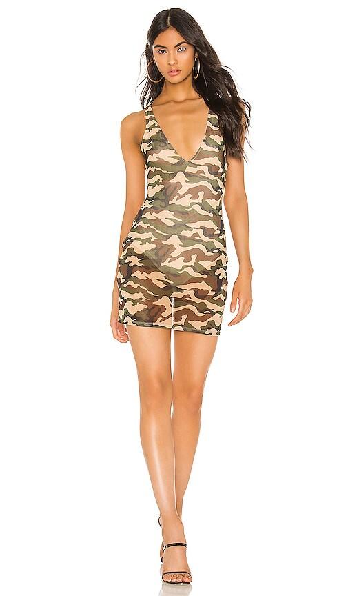 superdown Kellie Mesh Mini Dress in Camo   REVOLVE
