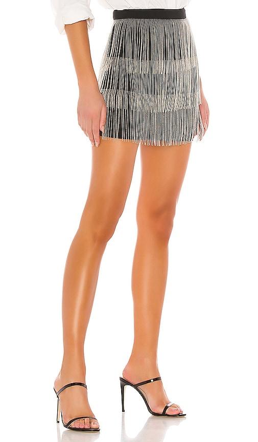 Superdown Janelle Black Fringe Skirt