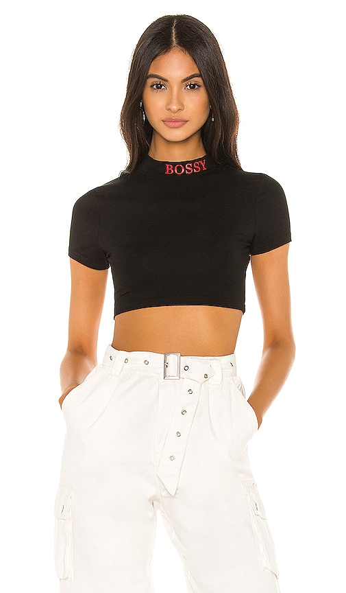 Vanna Cropped Mock Neck Top