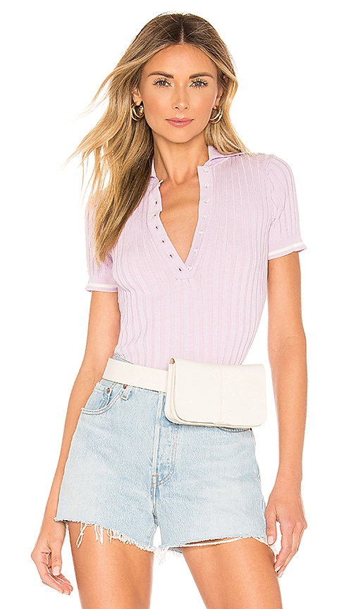 Shania Ribbed Polo Top