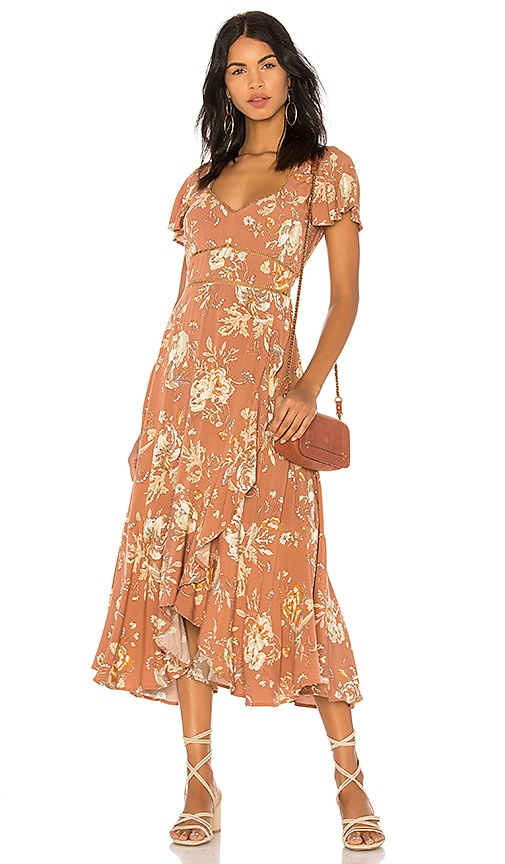 Spell & The Gypsy Collective Rosa Garden Party Dress in Brown