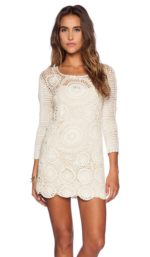 Spell The Gypsy Collective Havana Crochet Mini Dress In Cream