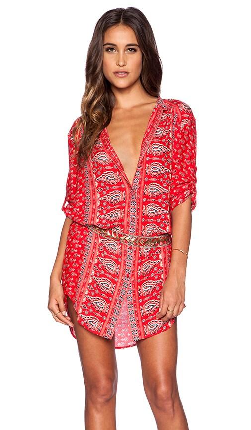 Spell &amp The Gypsy Collective Gypsiana Shirt Dress in Red Bandana ...