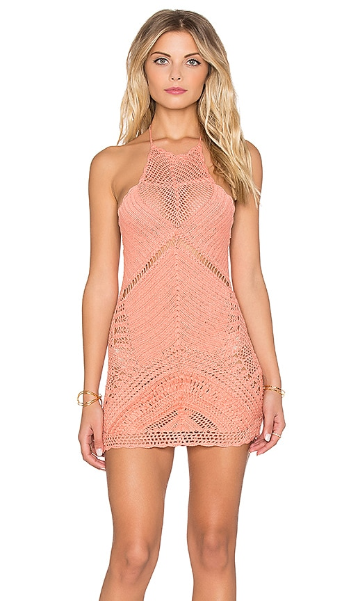 Spell & The Gypsy Collective Palm Spring Halter Mini Dress in Pink