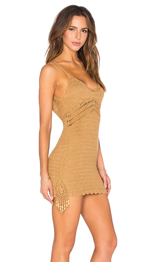 Spell & The Gypsy Collective Twiggy Crochet Mini Dress in Tan