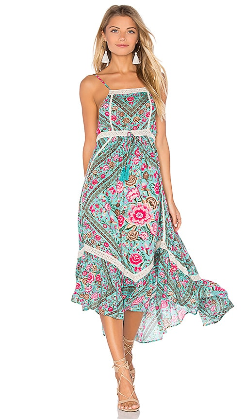 Spell & The Gypsy Collective Babushka Midi Dress in Turquoise