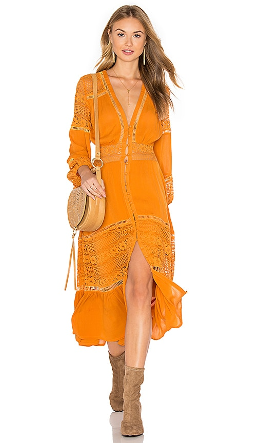 Spell & The Gypsy Collective Olivia Lace Dress in Orange