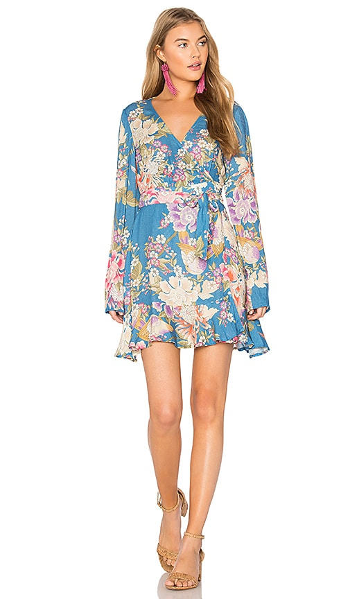 Spell & The Gypsy Collective Blue Skies Wrap Mini Dress in Blue