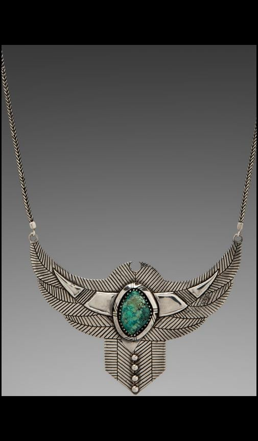 Thunderstruck Crystal Chest Plate Necklace w/ Turquoise Stone