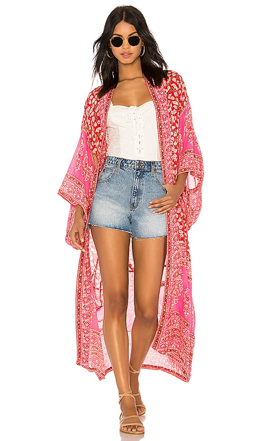 Spell & The Gypsy Collective Delirium Kimono in Coral