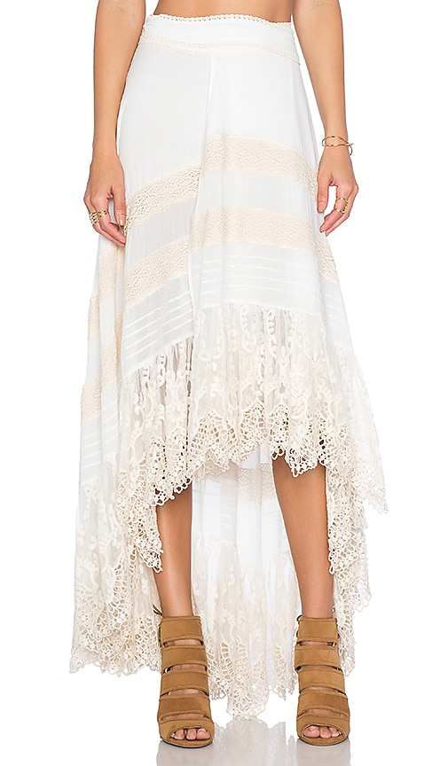 Super Spell & The Gypsy Collective Peasant Girl Wrap Skirt in White  OB46