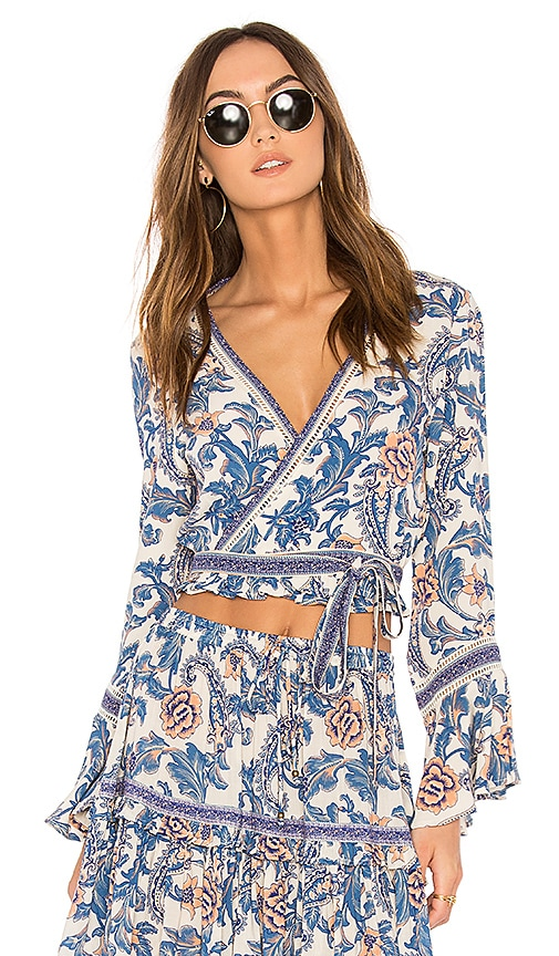 Spell & The Gypsy Collective Etienne Wrap Top in Blue