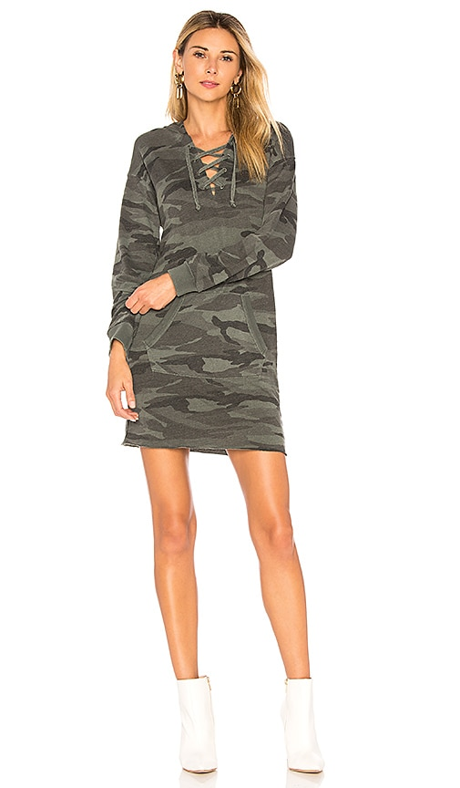 Splendid Camo Lace Up Hoodie Dress in Green