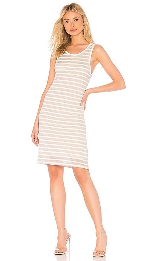 Splendid Linen Shadow Stripe Dress in Beige
