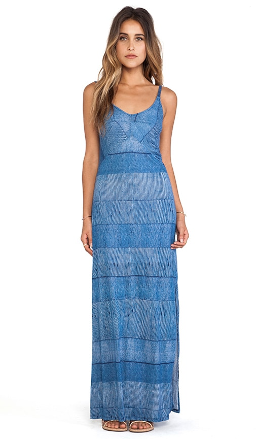 Textured Ink Stripe Maxi Dress