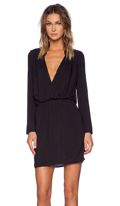 Splendid Rayon Voile Drape Dress in Black