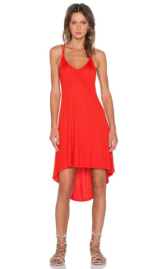 Splendid 2x1 Rib Dress in Poppy Red
