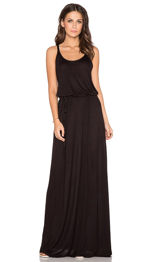 Splendid Midnight Jersey Racerback Maxi Dress in Black