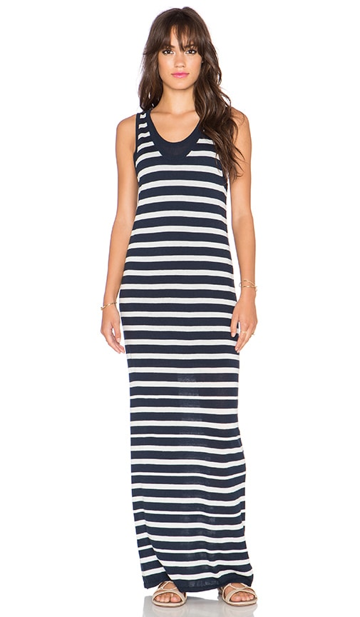 Splendid Striped Sweater Maxi Dress in Navy & White