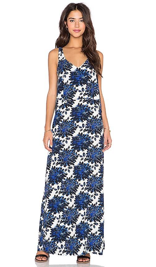 Splendid Mediterranean Blossom V Neck Maxi Dress in Royal