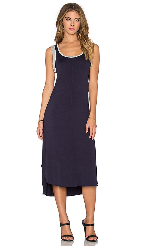 Splendid Midi Tank Dress in Navy & Heather Grey