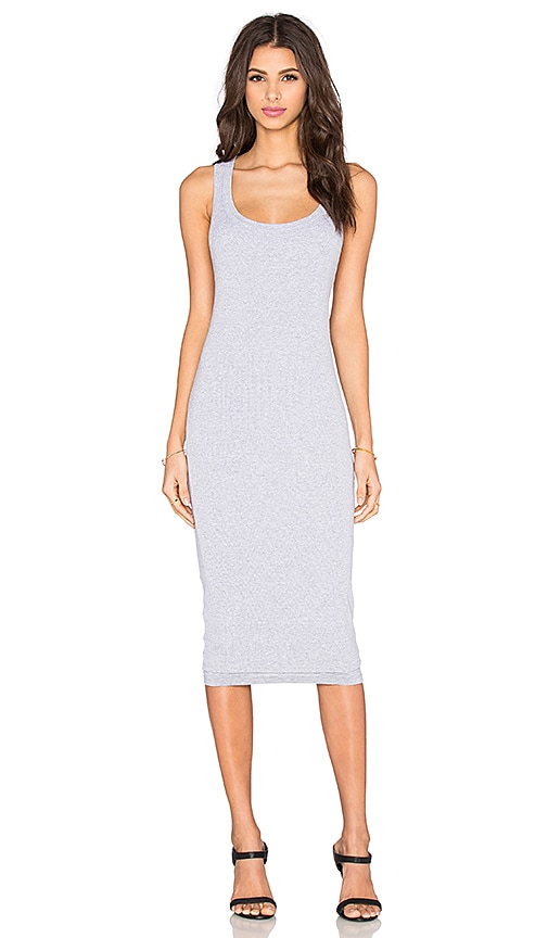 Splendid 2x1 Rib Cross Back Knit Dress in Heather Grey