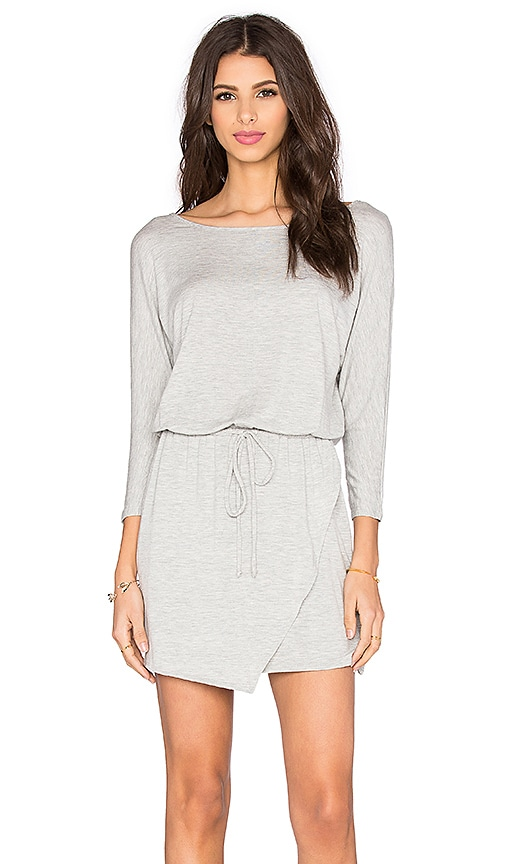 Splendid Heathered Jersey Drawstring Mini Dress in Heather Grey
