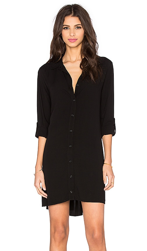 Splendid Button Down Shirt Dress in Black