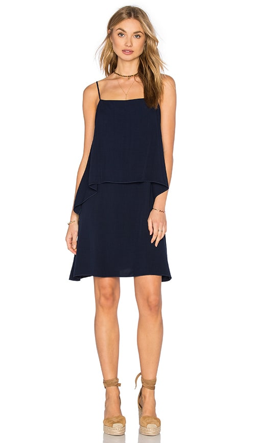 Splendid Sleeveless Overlay Mini Dress in Navy