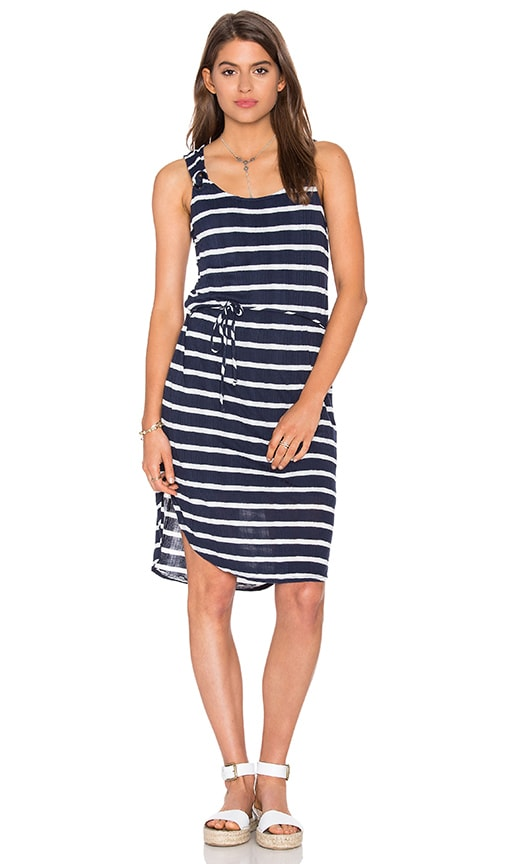 Splendid Huntington Stripe Rib Tank Dress in Navy