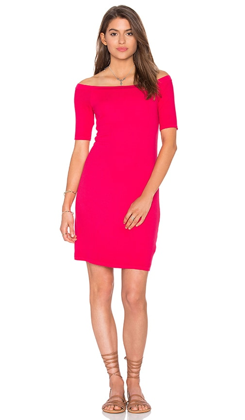 Splendid 2x1 Rib Bodycon Dress in Bright Flamingo