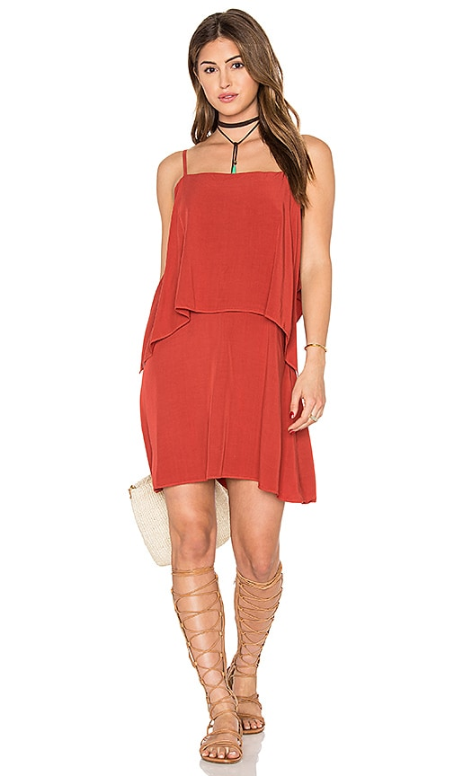 Splendid Sleeveless Overlay Mini Dress in Brick Red