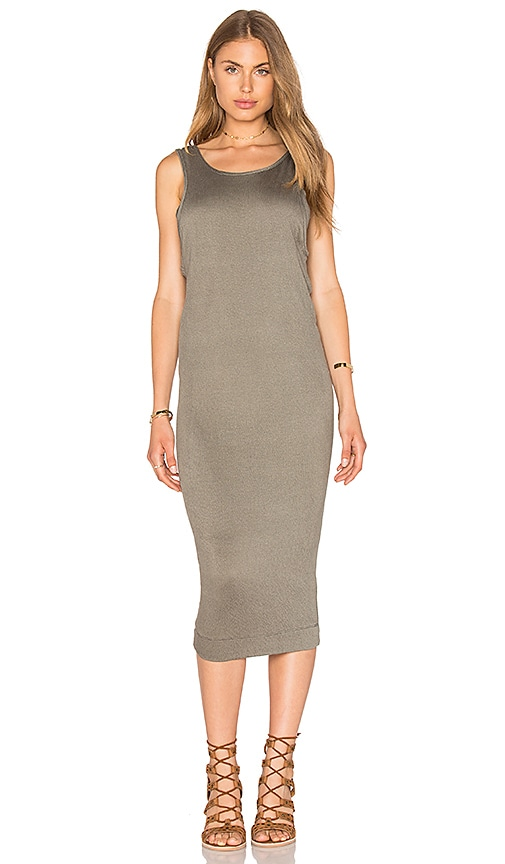 Splendid Textured Jersey Midi Dress in Olive