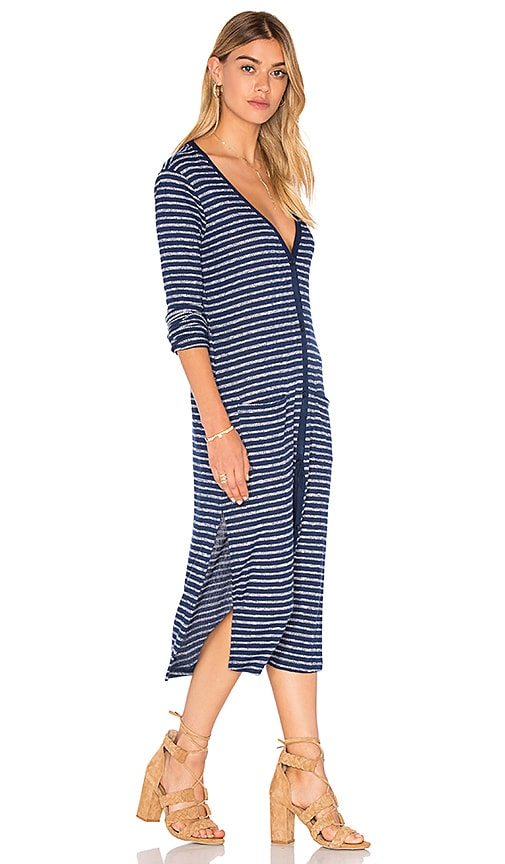 Splendid Alline Stripe Loose Knit Long Sleeve Button Up Dress in Blue