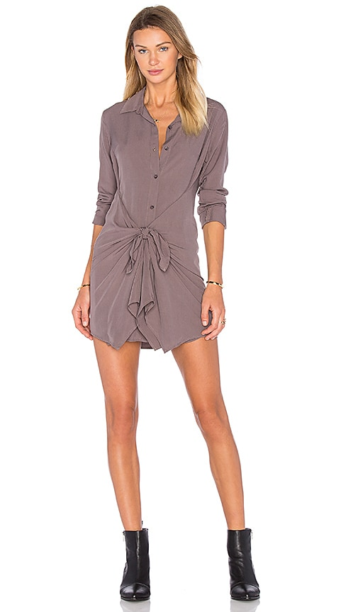 Splendid Rayon Voile Front Tie Dress in Gray