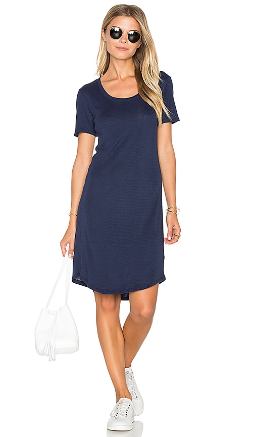 Splendid Codette Mini Variegated Rib Stripe T Shirt Mini Dress in Navy