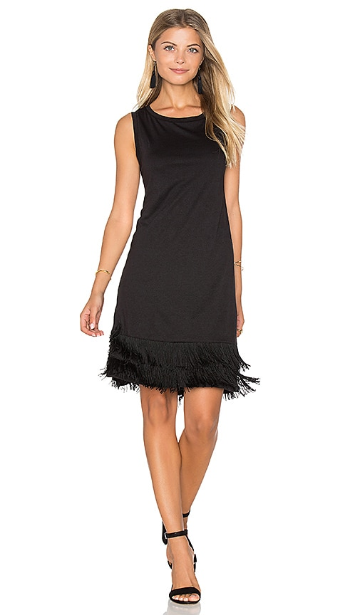 Splendid Fringe Sleeveless Mini Dress in Black