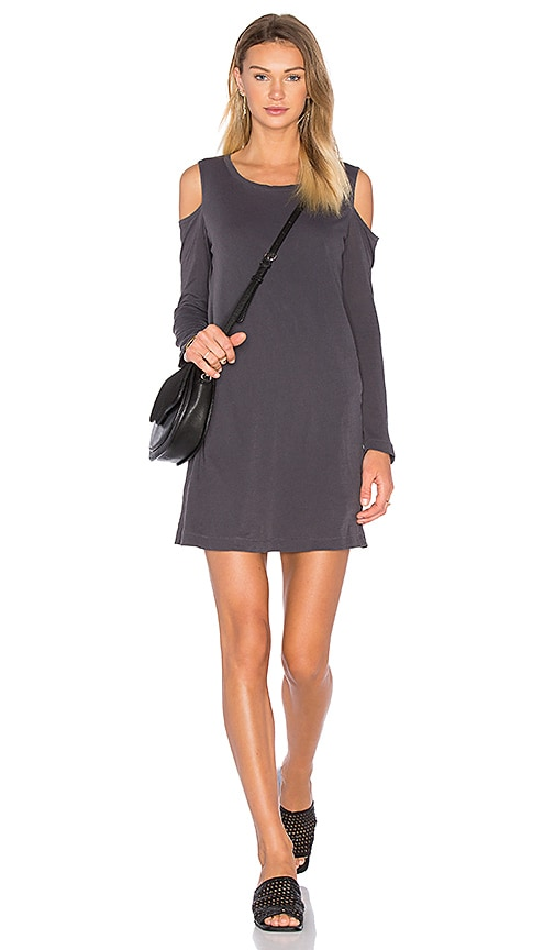 Splendid Vintage Whisper Shoulder Cut Out Mini Dress in Charcoal