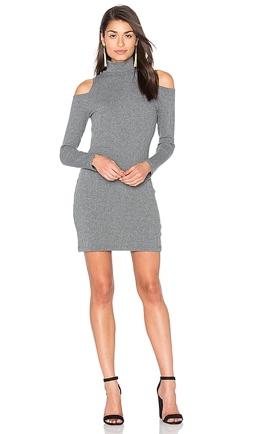 Splendid Waffle Loose Knit Mini Dress in Gray