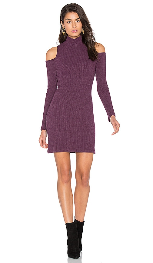 Splendid Waffle Loose Knit Mini Dress in Purple