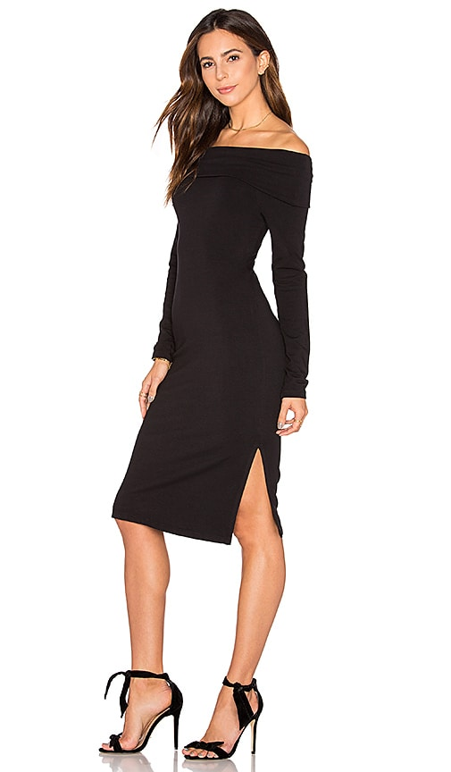 Splendid Off Shoulder French Terry Dress in Black