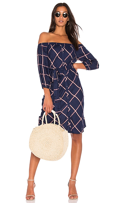 6fcdeb49eca9 Splendid Reily Plaid Off the Shoulder Dress in Navy