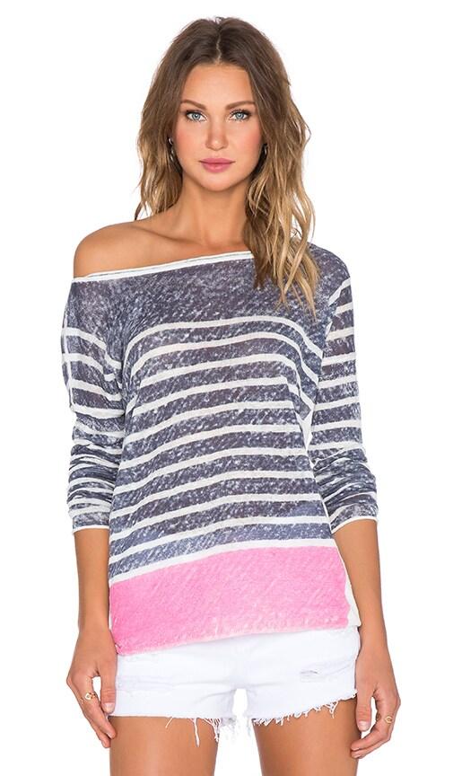 Splendid Linen Print Sweater in Navy & Bloom