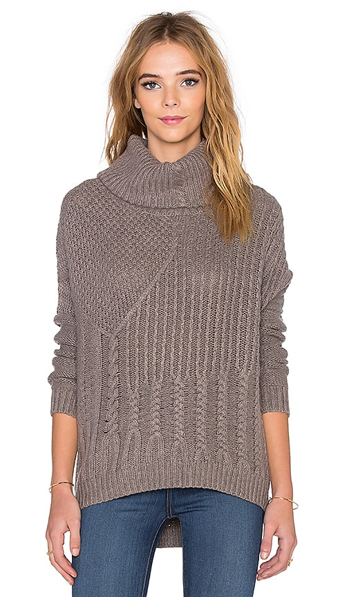 Splendid Stanton Cable Turtleneck Sweater in Mink