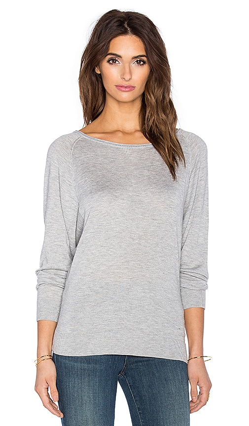 Splendid Cashmere Crew Neck Sweater in Heather Grey