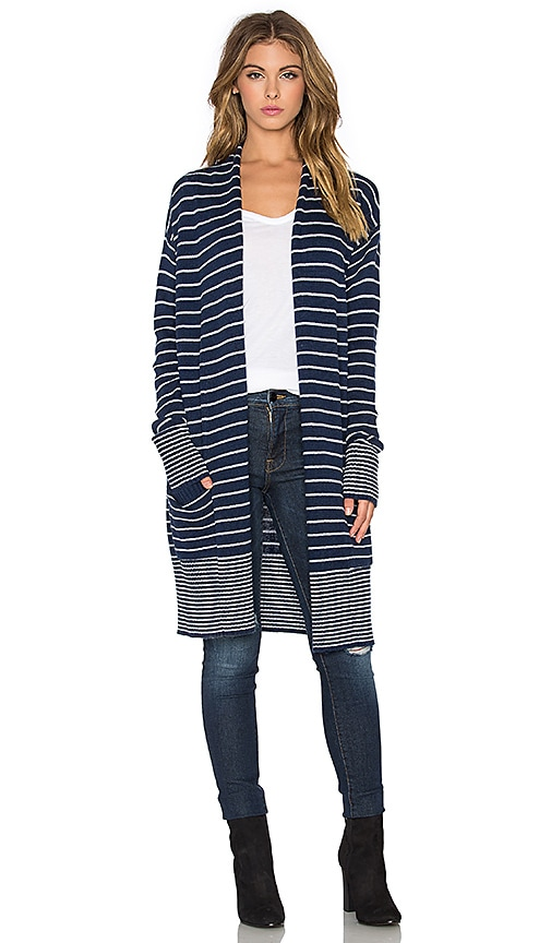 Splendid Needle Stripe Cardigan in Navy