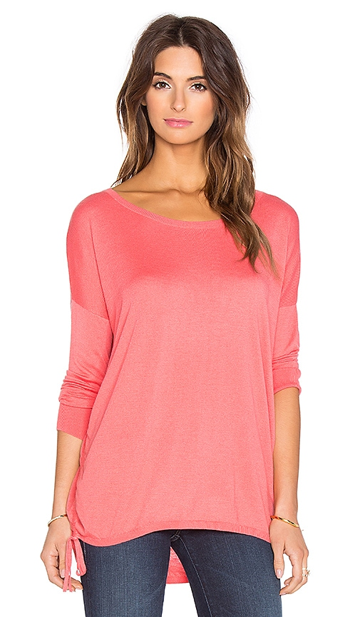 Splendid Cashmere Blend Cinched Sweater in Coral Pink